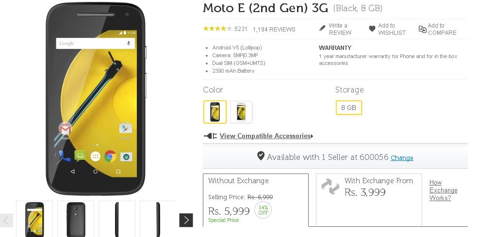 Moto E 2nd Gen Receives Price Cut Of Rs. 1000