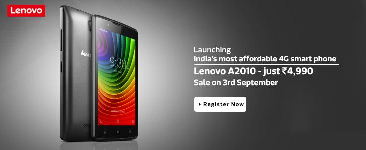 Lenovo Launched 4G Smart Phone At Rs. 4,990