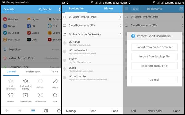 Syncing Bookmarks On UC Browser