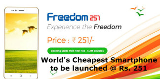 World's Cheapest Smartphone to be launched @ Rs. 251