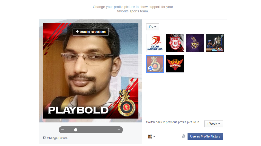 Customize Your FB Profile Picture to Support Your Favourite IPL Team