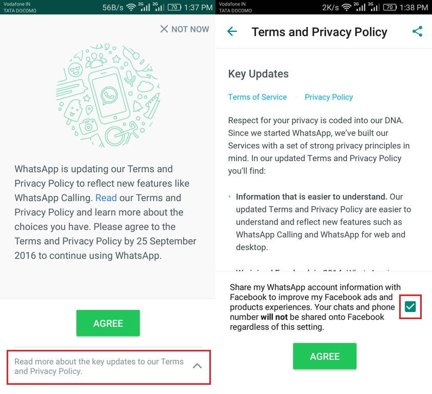 How to Disable WhatsApp sharing your information with Facebook Option 1