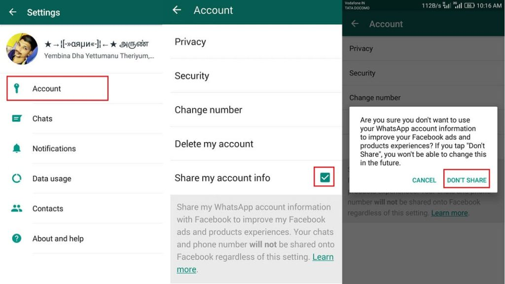 How to Disable WhatsApp sharing your information with Facebook Option 2