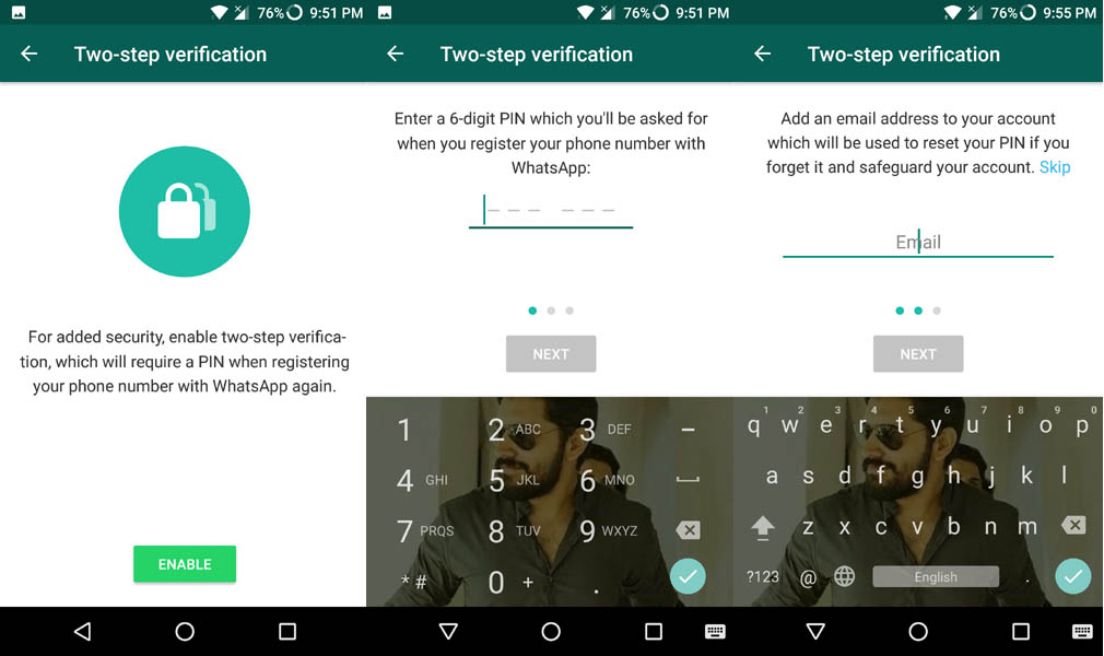 Two-step verification on WhatsApp