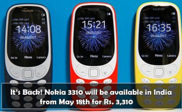 Nokia 3310 will be available in India on May 18th for Rs. 3,310