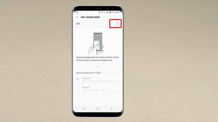 Enable One-Handed Mode S8