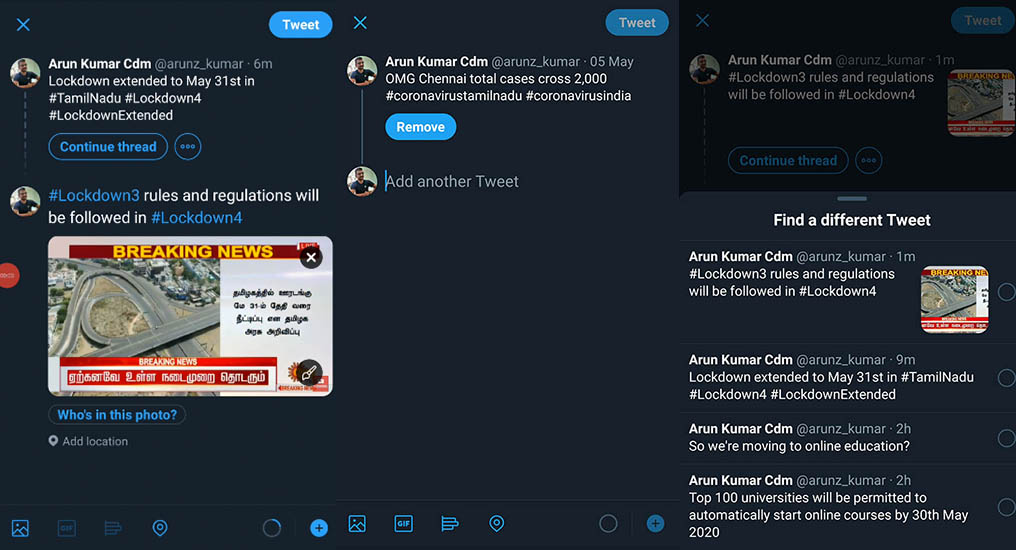 How to create the continue thread feature on Twitter on Mobile