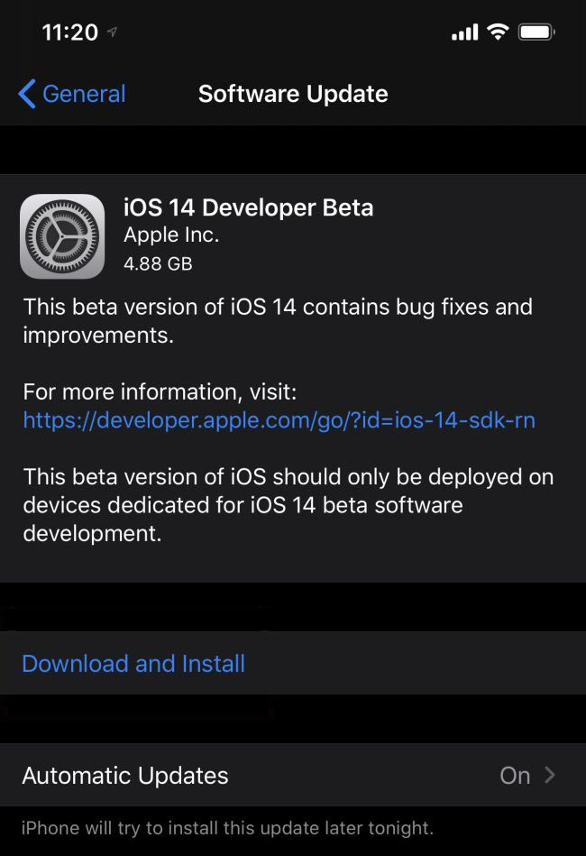 iOS 14 Download and install screen